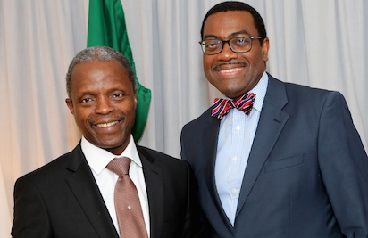 AfDB team meets Osinbajo, targets $10bn investment in Nigeria by 2019