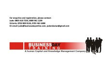 BusinessDay TRAINING – Bettering Business for Society, Bettering Society for Business