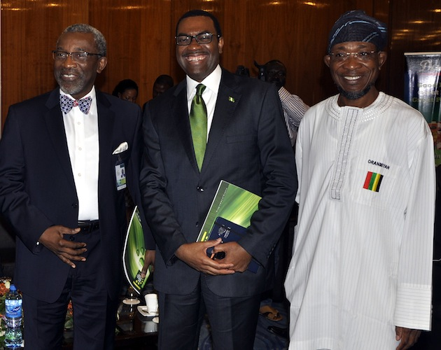 L-R, Foluso Philips, Chairman NESG, Akinwumi Adesina, Minister of Agriculture and Rural Development and Rauf Aregbesola, Osun State Governor