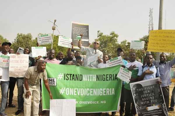 ANTI-GOVERNMENT,  4,9,1,2, Chidi Odinkalu leading the protest of the members of #onevoicenigeria in a protest against the Government of PMB in Abuja picture by TUNDE ADENIYI. on 06-02-2017.