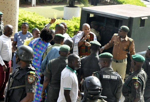 Nnamdi Kanu, Leader of Indigenous People of Biafra (IPOB)/Director of Radio Biafra/TV arriving the Federal High Court in Abuja. picture by TUNDE ADENIYI. on 11-01-2017.