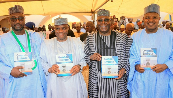 "R-L, Abubakar Sani Bello of Niger State, Aminu Tambuwal of Sokoto State, Former Vice President and chieftain of All Progressives and Chief presenter/launcher, Atiku Abubakar and Abubakar Atiku Bagudu of Kebbi State during the launching of the book ""Gwandu Emirate: The Domain of Abdullahi Fodio, since 1805"" at the Abdullahi Fodio Palace in Birnin Kebbi, Kebbi State. picture by TUNDE ADENIYI."