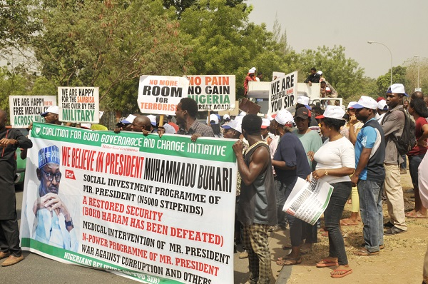 PRO- GOVERNMENT,  6,7,5,3,4,2,  Members of Coalition for Good Governance and Change Initiative in a Solidarity  Support to the Government of PMB in Abuja. picture by TUNDE ADENIYI. on 06-02-2017.