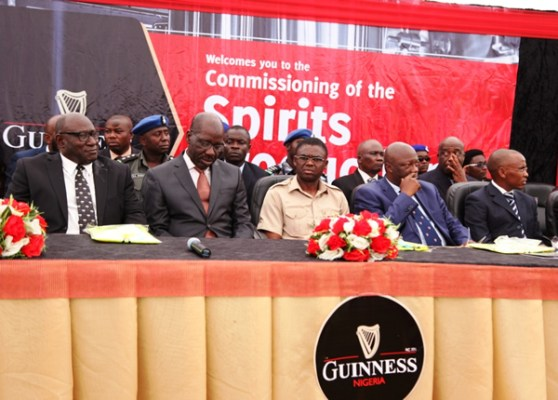 L-R Chairman, Guinness Nigeria Plc, Babatunde Abayomi Savage;Governor, Edo State, Godwin Obaseki; Deputy Governor, Edo State, Philip Shuaibu; Secretary to the Edo State Government, Osarodion Ogie; and Managing Director, Guinness Nigeria Plc, Peter Ndegwa at the commissioning ceremony of the new Guinness Spirits Production Line at the Guinness Benin Brewery, Ikpoba Hill, Benin this afternoon.