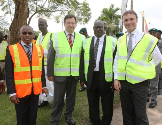 L-R Managing Director, Guinness Nigeria Plc, Peter Ndegwa; British High Commissioner to Nigeria,  Paul Arkwright; Chairman, Guinness Nigeria Plc, Babatunde Abayomi Savage and President, Diageo Africa, John O Keffe at the commissioning ceremony of the new Guinness Spirits Production Line at the Guinness Benin Brewery, Ikpoba Hill, Benin this afternoon.