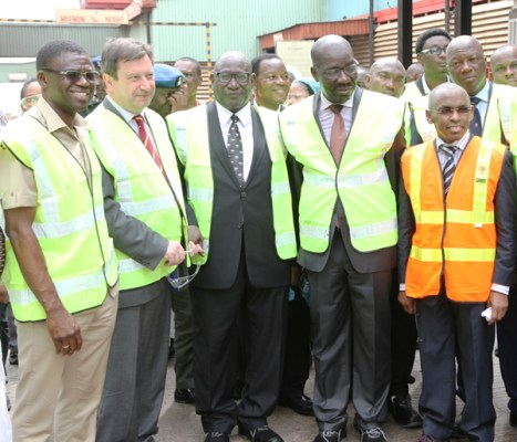 L-R Deputy Governor, Edo State, Philip Shuaibu; British High Commissioner to Nigeria,  Paul Arkwright; Chairman, Guinness Nigeria Plc,  Babatunde Abayomi Savage; Governor, Edo State, Godwin Obaseki; and Managing Director, Guinness Nigeria Plc, Peter Ndegwa at the commissioning ceremony of the new Guinness Spirits Production Line at the Guinness Benin Brewery, Ikpoba Hill, Benin this afternoon.