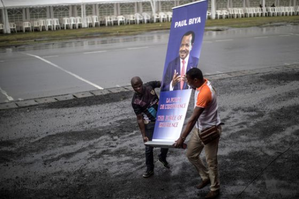 Africa's oldest president, campaigns for another term in Cameroon
