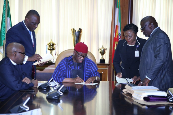 Okowa signs 2019 appropriation Bill of N390.3b into law