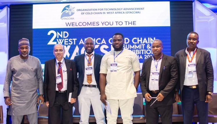 Alexander Isong, CEO, Alyx Limited; Anurag Agarwal ,CEO , New Leaf Dynamic Technologies Limited, India; Tony Tiyou, CEO, Renewables in Africa Limited; Umeh representative, Asiko Power Limited; Joseph Uwaifo Ajayi, lecturer -dept of Mechanical Engineering, Federal university of Petroleum Resources, Effurun,Warri,Nigeria and Magnus Oshiogwe, MD, Trinitair AgroAviation Enterprises,Benin city,Nigeria during the 2nd West Africa Cold Chain Summit and Exhibition in Lagos recently.